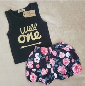 """BNWT 2pc Floral Set """"Wild One"""" Birthday Outfit"""